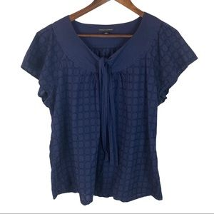 Banana Republic Blue Flutter Sleeve Tie Top SizeXL
